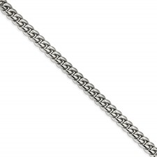 Stainless Steel Polished 8.25in Curb Chain Bracelet