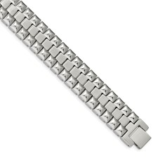 Stainless Steel Brushed and Polished 8.25in Heavy Link Bracelet