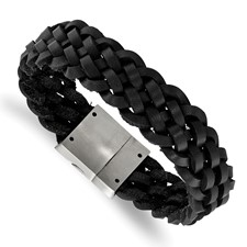 Stainless Steel Brushed Black Leather Braided Bracelet