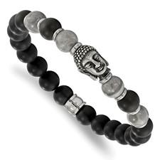 Stainless Steel Buddha Black Agate/Grey Jasper Beaded Stretch Bracelet