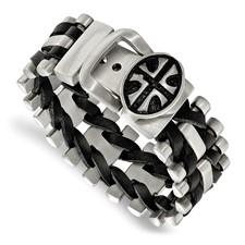 Stainless Steel Brushed Antiqued Textured Adj. Cross Blk Leather Bracelet