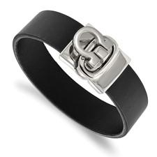 Stainless Steel Polished Black Leather Bracelet