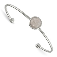 Stainless Steel Polished with Rose Quartz Cuff Bangle