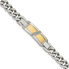 Stainless Steel w/18k Gold Accent 0.1ct Diamond 8.25in w/.75in ext Bracelet
