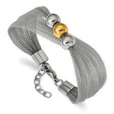 Stainless Steel Polished Yellow IP-plated Bead Mesh 7in w/1in ext. Bracelet