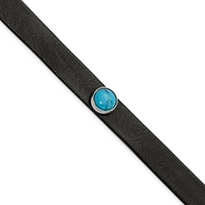 Stainless Steel Polished Leather w/Imit. Turquoise w/1.25in ext. Bracelet