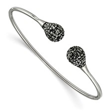 Stainless Steel Polished with Hematite Flexible Cuff Bangle