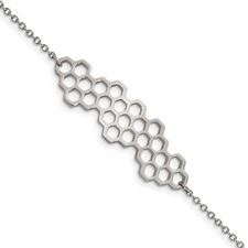 Stainless Steel Polished Honeycomb 7in with 1in ext. Bracelet