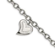 Chisel Stainless Steel CZ Heart Charm Fancy Bracelet