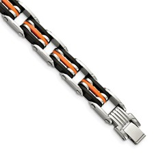 Chisel Stainless Steel Black and Orange Polyurethane 8.5 inch Bracelet