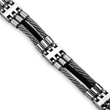 Chisel Stainless Steel Wire Black Rubber 8.75 inch Bracelet