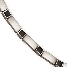 Chisel Stainless Steel Satin Black Rubber 8 inch Bracelet