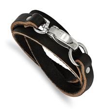 Chisel Stainless Steel Black Leather Wrap Bracelet