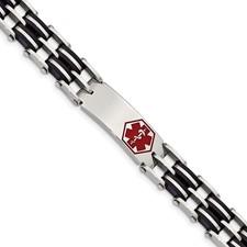 Chisel Stainless Steel Black Rubber Red Enamel 8.25 inch Medical Bracelet