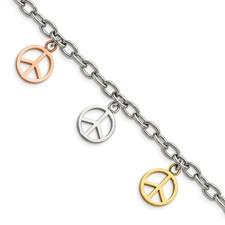 Chisel Stainless Steel Multicolor Peace Signs Charm Adjustable Bracelet