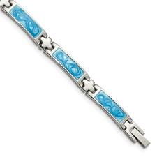 Chisel Stainless Steel Blue Enamel 7.25 inch Bracelet