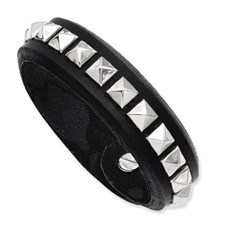 Chisel Stainless Steel Black Leather  9 inch Adjustable Bracelet with Studs