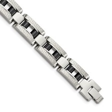 Chisel Stainless Steel IP Black-plated Greek Key 8.5 inch Bracelet