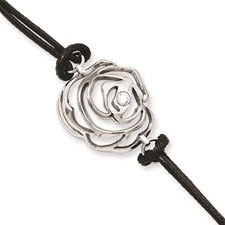 Chisel Stainless Steel Flower CZ and Leather Cord 6 inch Bracelet with 2 inch extender
