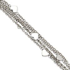 Chisel Stainless Steel Multiple Chain with Hearts 8 inch Toggle Bracelet