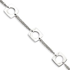 Chisel Stainless Steel Polished Squares 8 inch Bracelet