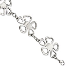 Chisel Stainless Steel Polished Flowers 8 inch Bracelet