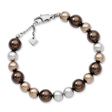 Chisel Stainless Steel Multicolor Beaded 7.5 Bracelet with extension