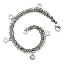 Chisel Stainless Steel Multiple Row with Discs 7.25 inch Bracelet