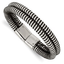 Chisel Stainless Steel Black Leather and Polished Bangle