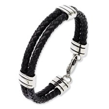 Chisel Stainless Steel Black Leather 9 inch Bracelet