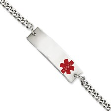 Stainless Steel Polished with Red Enamel 8.75in Medical ID Bracelet