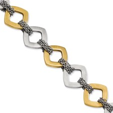 Chisel Stainless Steel Gold-plated and Brushed 7.5 inch Bracelet with extension