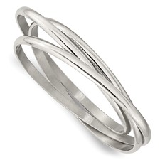 Chisel Stainless Steel Polished Intertwined Bangles