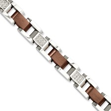 Chisel Stainless Steel Chocolate-plated Diamond 8.5 inch Bracelet