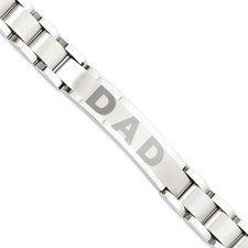 Chisel Stainless Steel Brushed and Polished 8.75 inch Dad Bracelet