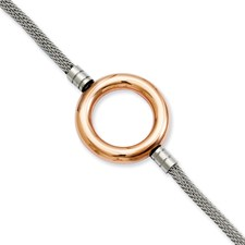 Chisel Stainless Steel Rose-plated Circle Mesh 7.75 Bracelet with extension