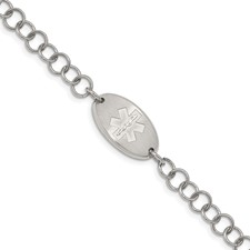 Chisel Stainless Steel Brushed Medical ID 7 inch Bracelet with 1 inch extender