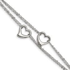 Chisel Stainless Steel Cut-out Hearts 7 inch Bracelet