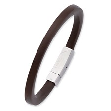 Chisel Stainless Steel Brown Rubber 8.5 inch Bracelet