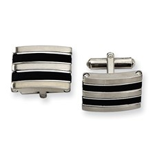 Chisel Stainless Steel Black Rubber Cuff Links
