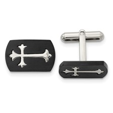Chisel Stainless Steel Black-plated Polished Cross Cuff Links