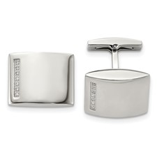 Chisel Stainless Steel CZ Cuff Links