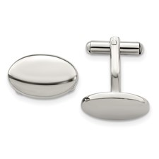 Chisel Stainless Steel Polished Oval Cuff Links