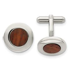 Chisel Stainless Steel Wood Inlay Round Cuff Links