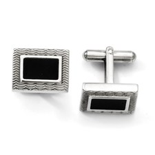 Chisel Stainless Steel Black Enamel Cuff Links