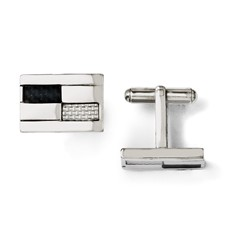 Chisel Stainless Steel Black and Grey Carbon Fiber Cuff Links