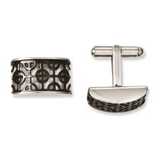 Chisel Stainless Steel Fancy Black IP-plated Cuff Links