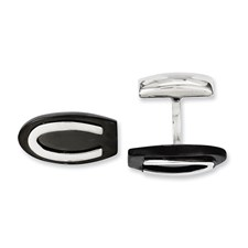 Chisel Stainless Steel Black IP-plated Oval Cuff Links