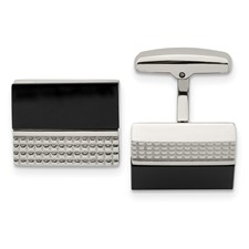Chisel Stainless Steel Black Agate and Textured Cuff Links