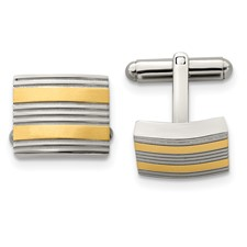 Chisel Stainless Steel Yellow IP-plated and Polished Cuff Links